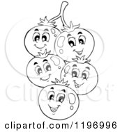 Cartoon Of Happy Outlined Tomatoes On The Vine Royalty Free Vector Clipart by visekart