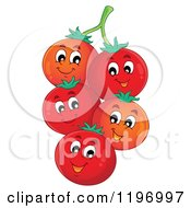 Cartoon Of Happy Red Tomatoes On The Vine Royalty Free Vector Clipart by visekart