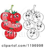 Cartoon Of Happy Red And Outlined Tomatoes On The Vine Royalty Free Vector Clipart by visekart