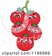 Cartoon Of Happy Tomatoes On The Vine Royalty Free Vector Clipart by visekart