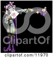Purple Renaissance Joker Holding A Card Clipart Illustration