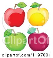 Cartoon Of Red Yellow And Green Apples Royalty Free Vector Clipart