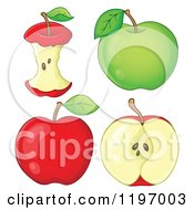 Cartoon Of Red And Green Apples And Cores Royalty Free Vector Clipart