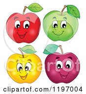 Cartoon Of Happy Colorful Apples Royalty Free Vector Clipart