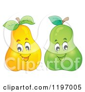 Cartoon Of Happy Yellow And Green Pears Royalty Free Vector Clipart by visekart