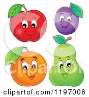 Cartoon Of A Happy Apple Plum Orange And Pear Royalty Free Vector Clipart by visekart