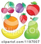 Cartoon Of A Banana Pear Strawberry Red Apple Plum Orange And Cherries Royalty Free Vector Clipart by visekart