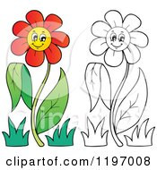 Cartoon Of Happy Red And Outlined Daisy Flowers On A Stem Royalty Free Vector Clipart