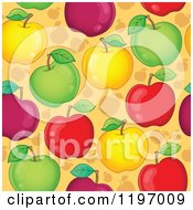 Cartoon Of A Seamless Colorful Apple Background Pattern Royalty Free Vector Clipart by visekart