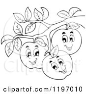 Cartoon Of Happy Outlined Apple Characters On A Tree Royalty Free Vector Clipart by visekart