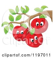 Cartoon Of Happy Red Apple Characters On A Tree Royalty Free Vector Clipart by visekart