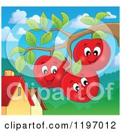 Cartoon Of Happy Red Apple Characters On The Tree Royalty Free Vector Clipart by visekart