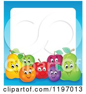 Cartoon Of A Group Of Happy Fruit And A Blue Frame Around White Text Space Royalty Free Vector Clipart