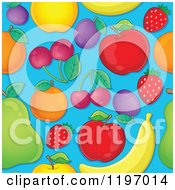 Cartoon Of A Seamless Pattern Of Fruit Over Blue Royalty Free Vector Clipart by visekart