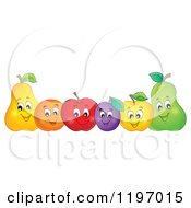 Cartoon Of A Row Of Happy Fruit Royalty Free Vector Clipart by visekart