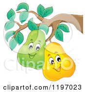 Cartoon Of Happy Pears On The Tree Royalty Free Vector Clipart by visekart