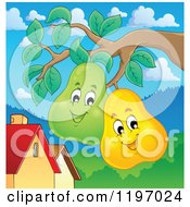 Cartoon Of Happy Pears On A Tree Royalty Free Vector Clipart by visekart