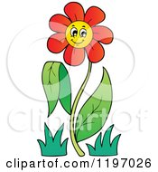 Cartoon Of A Happy Red Daisy Flower On A Stem Royalty Free Vector Clipart by visekart