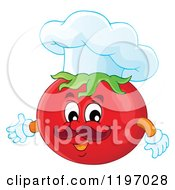 Cartoon Of A Chef Tomato Presenting Royalty Free Vector Clipart by visekart