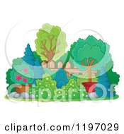 Cartoon Of A Landscaped Yard With Shrubs Trees And A Fence Royalty Free Vector Clipart