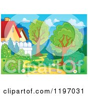 Cartoon Of A Curvy Path Behind Houses With Trees And Shrubs Royalty Free Vector Clipart