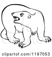 Clipart Of A Black And White Angry Polar Bear Royalty Free Vector Illustration