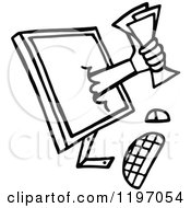 Clipart Of A Black And White Hand Holding Money Through A Computer Monitor Royalty Free Vector Illustration by Prawny