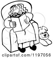 Black And White Dog Resting By A Woman Reading In A Chair