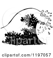 Clipart Of A Black And White Wave Royalty Free Vector Illustration