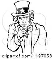 Clipart Of A Black And White Uncle Sam Pointing Outwards Royalty Free Vector Illustration by Prawny