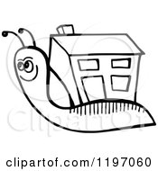 Clipart Of A Black And White Snail With A House Shell Royalty Free Vector Illustration by Prawny