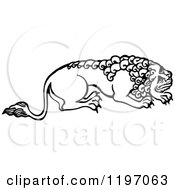 Clipart Of A Black And White Male Lion Royalty Free Vector Illustration