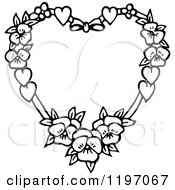 Clipart Of A Black And White Floral Heart Royalty Free Vector Illustration