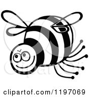 Clipart Of A Black And White Happy Bee Royalty Free Vector Illustration by Prawny