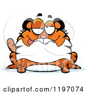 Cartoon Of A Drunk Or Dumb Chubby Tiger Royalty Free Vector Clipart