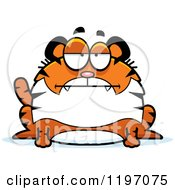 Cartoon Of A Bored Chubby Tiger Royalty Free Vector Clipart