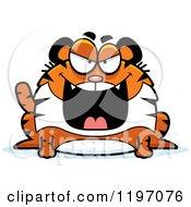 Cartoon Of An Evil Chubby Tiger Royalty Free Vector Clipart