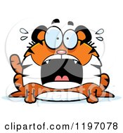 Cartoon Of A Scared Chubby Tiger Royalty Free Vector Clipart