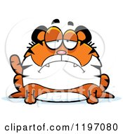 Cartoon Of A Depressed Chubby Tiger Royalty Free Vector Clipart