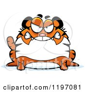 Cartoon Of A Mad Chubby Tiger Royalty Free Vector Clipart