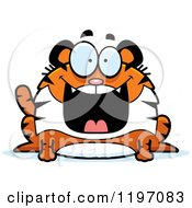 Cartoon Of A Grinning Chubby Tiger Royalty Free Vector Clipart