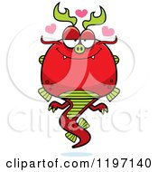 Cartoon Of A Loving Chinese Dragon Royalty Free Vector Clipart by Cory Thoman