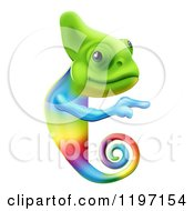 Cartoon Of A Happy Rainbow Chameleon Lizard Pointing To A Sign Royalty Free Vector Clipart