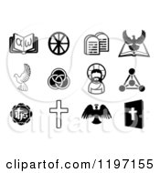 Clipart Of Black And White Christian Icons 5 Royalty Free Vector Illustration by AtStockIllustration