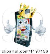 Cartoon Of A Pleased Smart Phone Mascot Wearing A Crown And Holding Two Thumbs Up Royalty Free Vector Clipart