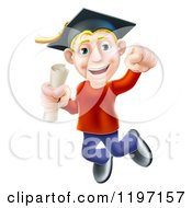 Cartoon Of A Happy Young Blond Graduate Man Jumping With A Scroll In Hand Royalty Free Vector Clipart