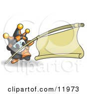 Joker Jester Character Holding A Blank Banner On A Pole Clipart Illustration
