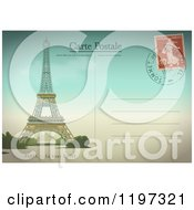 Clipart Of A Paris Post Card With The Eiffel Tower And Postmark Royalty Free Vector Illustration by Eugene