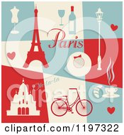 Clipart Of A Retro Paris Themed Collage With Text And Items Royalty Free Vector Illustration