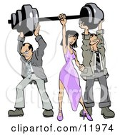 Two Struggling Businessmen Holding Up Weights On A Barbell While A Woman Grasps The Bar